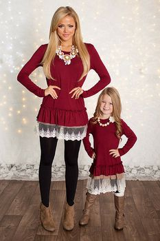 Girls Winter Party Baby Doll Dress Burgundy - Ryleigh Rue Clothing by MVB