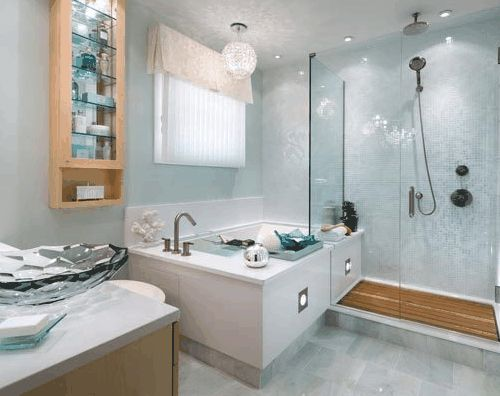 A tiny bathroom designed by Candice Olson #lampsplus  #mystyle