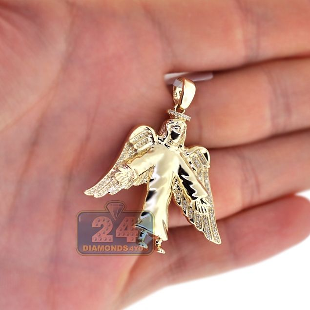 Mens Diamond Jesus Christ Angel Wings Pendant 10k Yellow Gold Plain Gold Pendant Diamond Jesus Mens Pendant