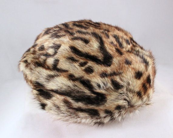 "Vintage REAL FUR Hat 60s Mod Marmot LEOPARD Pattern Topper Cap Canada Made ""Kates Boutique"" Glam Furs - Femme Fatale Fascinator Pillbox Hats by HarlowGirls on Etsy"
