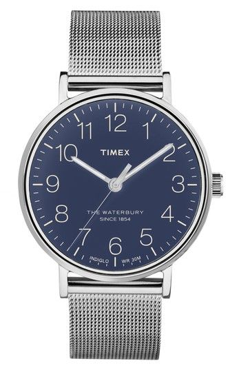 Free shipping and returns on Timex® Waterbury Mesh Strap Watch, 40mm at Nordstrom.com. A slender bezel widens the face for quick readability on this cleanly designed round watch with a light-up INDIGLO dial made for low-light conditions. A band of fine metal mesh streamlines the modern design.