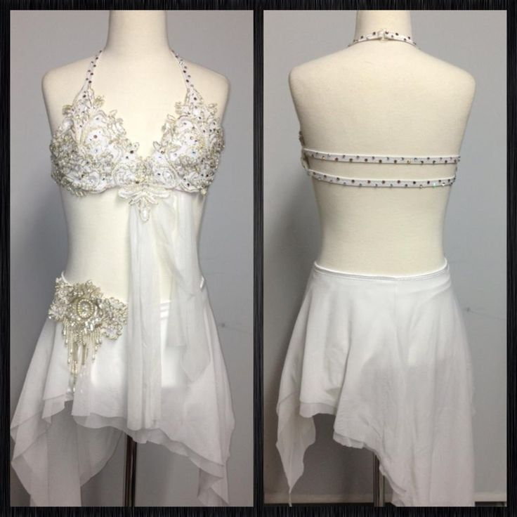 White Two-Piece Jeweled Accent's and Drapery Solo Costume.