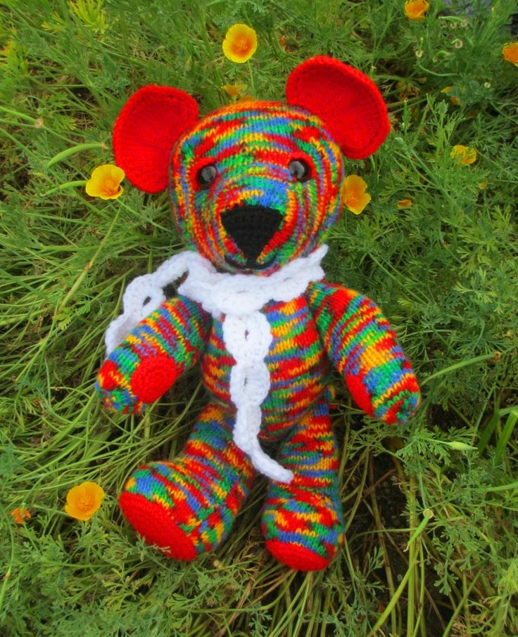 another knitted and crocheted bear combination using Jean Greenhowe pattern
