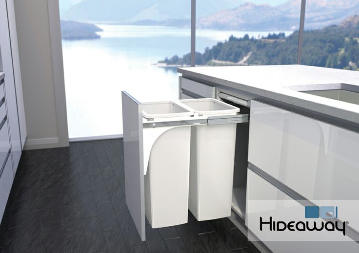 Double 40L Hideaway Bin in a kitchen environment. Model: Hideaway Soft Close SC240D-W, featuring soft-close runners to prevent slamming and an anti-bacterial Clinikill™ powder coated friction-fitted lid. The 40L buckets have vents to allow trapped air to escape as the bag is filled.
