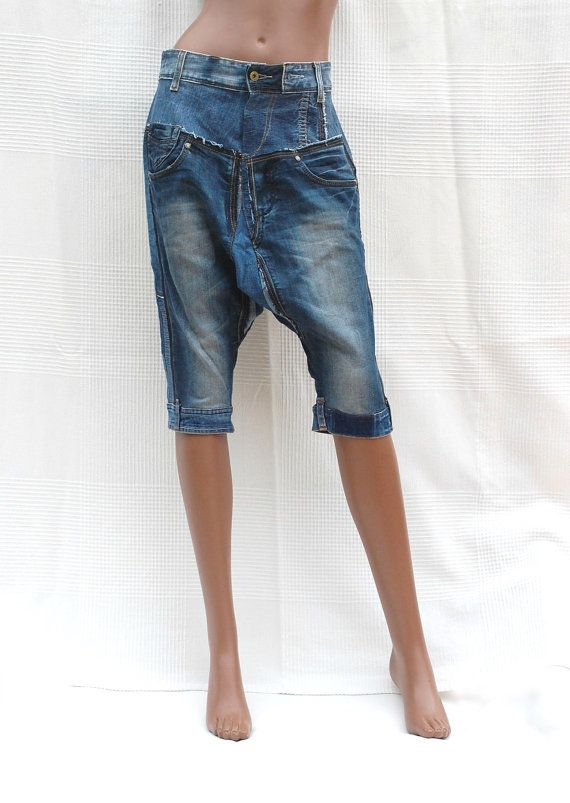 Short harem pants in patchwork of recycled jeans Unisex by DLFine