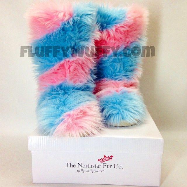 Swirl – Cotton Candy Fluffy Wuffy Boots | Northstar Fur Company