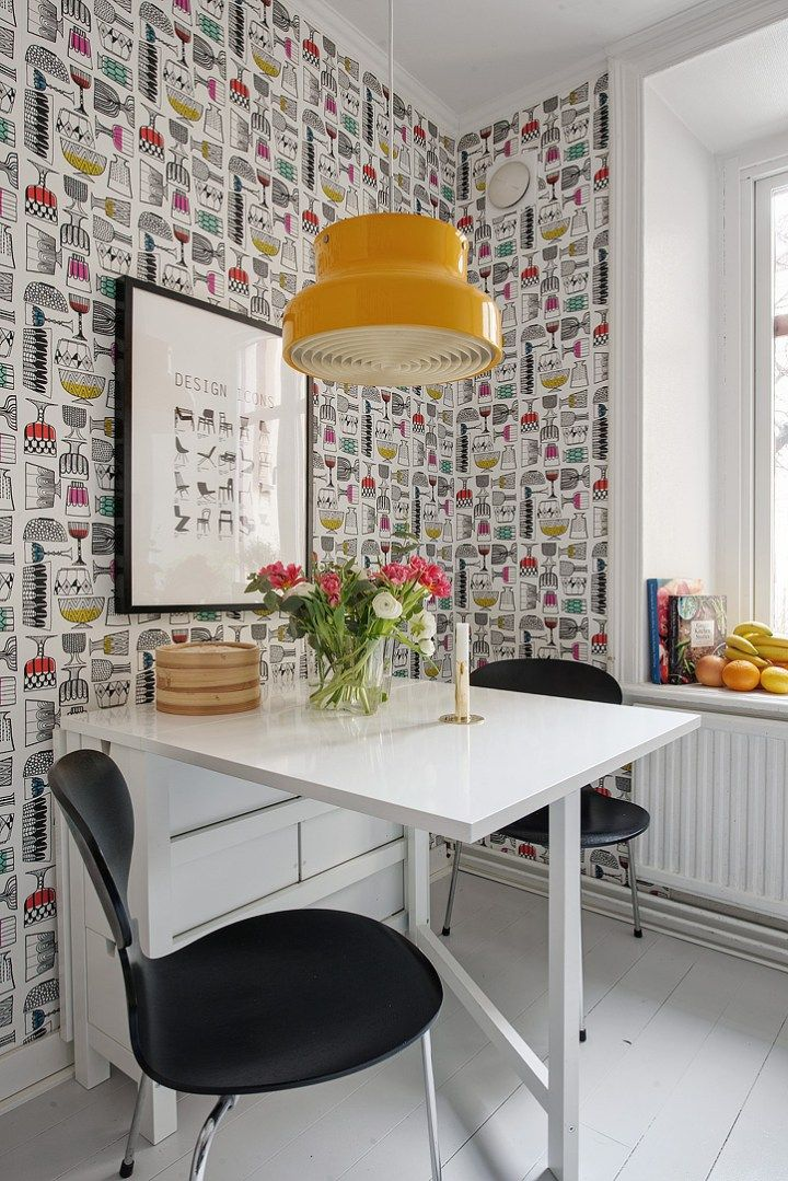 Post: Si, al papel de pared pintado en la cocina --> blog decoración nórdica, cocinas blancas, cocinas modernas pequeñas, decoración cocinas, estilo nórdico, papel de pared para cocinas, papel de pared pintado, revestimientos cocinas