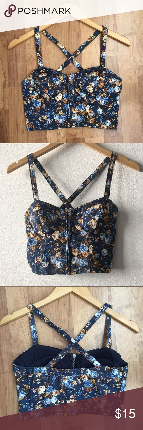 Floral Zip-Up Bustier Top Blue floral crop bustier top with zip up closure and lined cups from Nasty Gal Nasty Gal Tops Crop Tops
