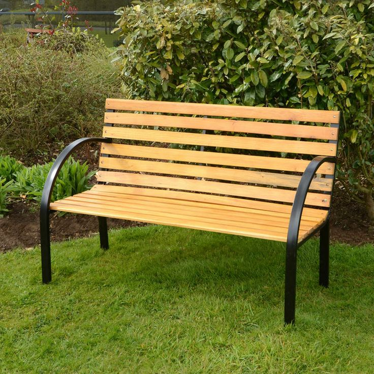 Azuma Arran 3 Seat Garden Natural Hardwood Bench Outdoor Furniture With  Black Steel Frame
