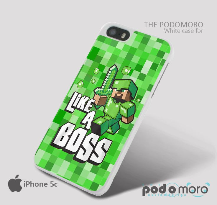 Cute Minecraft Like A Boss Green for iPhone 4/4S, iPhone 5/5S, iPhone 5c, iPhone 6, iPhone 6 Plus, iPod 4, iPod 5, Samsung Galaxy S3, Galaxy S4, Galaxy S5, Galaxy S6, Samsung Galaxy Note 3, Galaxy Note 4, Phone Case