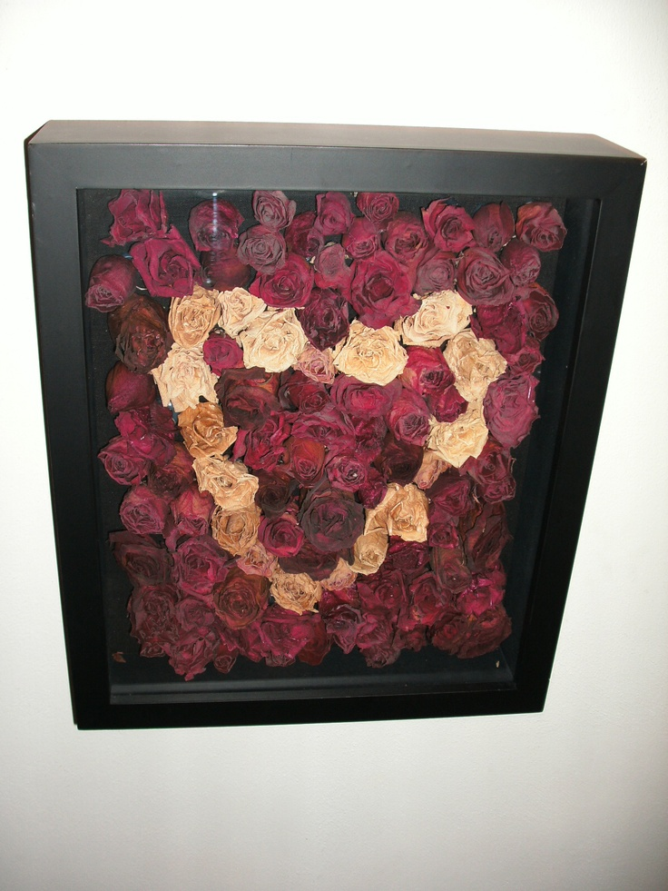 Do you dry all those roses you get from your man? Make wall art out of them. Cut the dried buds off the stem and hot glue them to the back of the shadow box frame backboard. A few dozen roses was used.