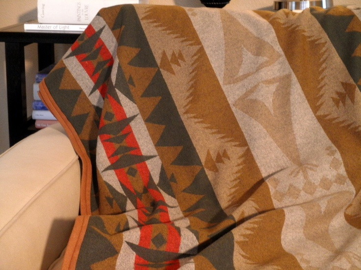 Pendleton wool blanket, tribal TeePee design, summer picnics, dorm decor, camping, in army green, brown, tan 60 x 65. $188.00, via Etsy.