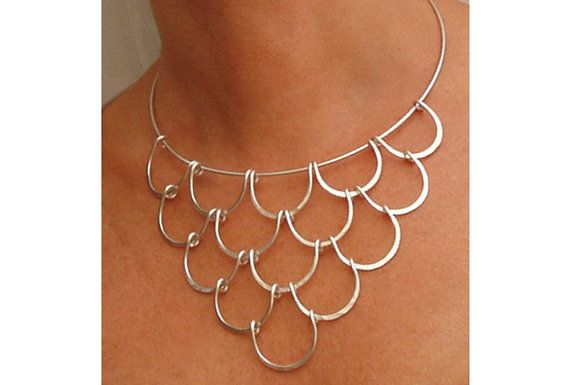 Wire Necklace Silver Waves by wiredesignbydanilo on Etsy