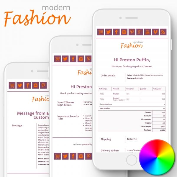 MODERN FASHION PrestaShop Email Templates
