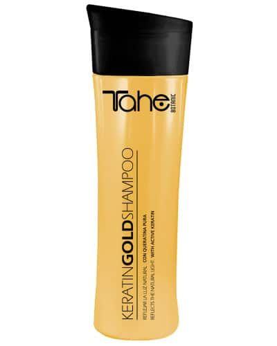 Tahe Shampooing Keratin Gold Shampooing pour cheveux très secs ou  endommagés. Spécial pointes fourchues, à la kératine pure et aux cellules mères végétales actives. #beaute #cheveux #cosmetique