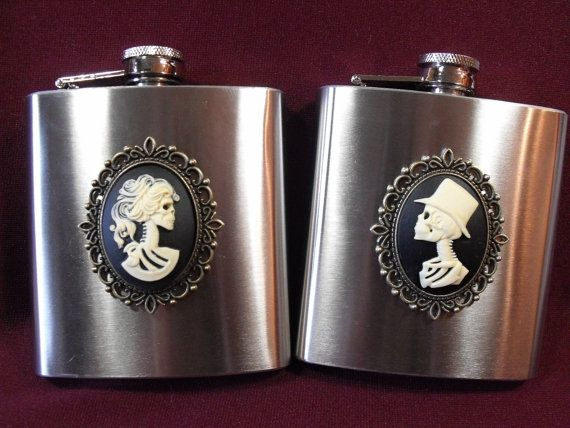 Gothic Bride and Groom Cameo Flasks Wedding Gift Set on Etsy, $45.00