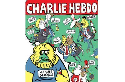 Slovenian philosopher Slavoj Žižek seen by cartoonist Diareja in post-Charlie Hebdo attack Mladina magazine, from Ljubljana.