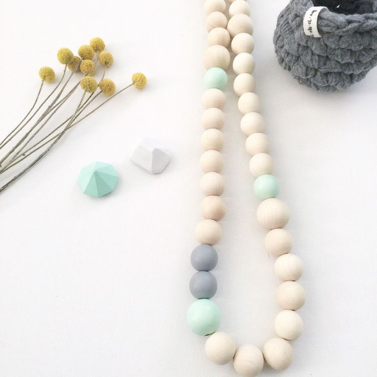 Soft mint and grey wooden bead garland on leather 🌿