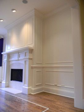 Wainscoting Ideas for Living Room | ... Mantel with Wainscoting and Crown Moulding transitional-living-room