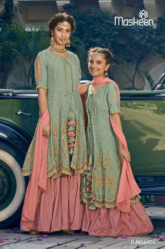d2fbe2f69c Party wear Indian Bollywood Designer embroidery Sharara mother daughter  dresses #Handmade #PakistaniSharara