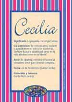 Significado del nombre Cecilia.