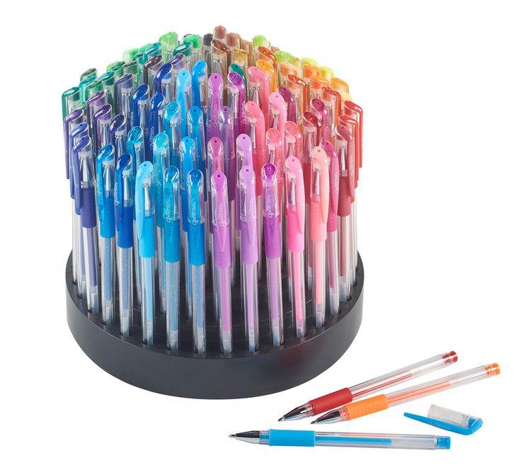 100 Gel Pens with Rotating Organizer - Assorted Coloring Gel Ink Pens Set with 100 colors - Pastel Neon/Neon/Glitter/Metallic Gel Pens - 100 Gel Pens