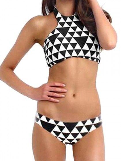 Multicolor Geometric Pattern Halter Top Triangle Bikini Suit