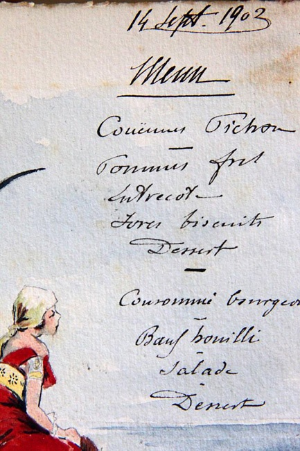 1903 French Watercolor Menu - handwritten  I love collecting them