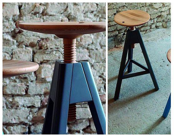 VITOS Taburetes tornillos disponibles en tres alturas; especial para trabajar en mesas regulables en altura y para barras de café. Asiento en madera de haya y estructura en madera o barnizado.
