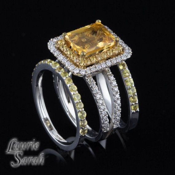 Radiant Cut Citrine Engagement Ring with Yellow Sapphire and Diamond Double Halo and Two Yellow Sapphire Wedding Bands - LS2950 via Etsy