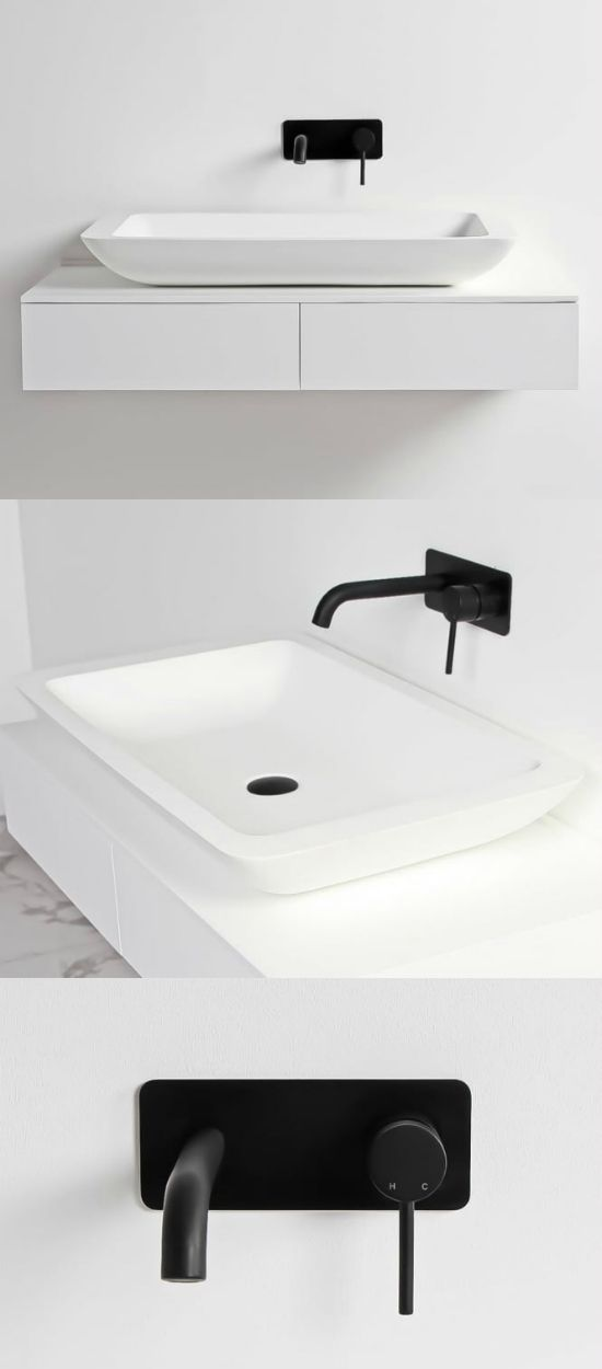 Black and white bathroom ideas. Minimal wall mounted tap in matt black. Stone basin by Lusso Stone.