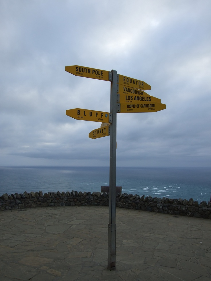 Cape Reinga Sign, most north of NZ.  (Check out the Bluff Sign, they point to each other)