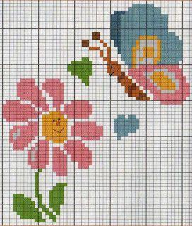 Flor, borboleta, baby, ponto cruz