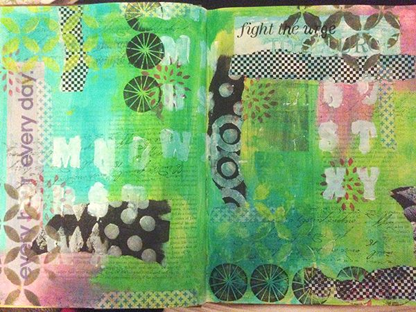 eNKay Design - spread in my altered book - inspired by Ro Bruh