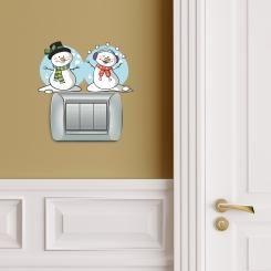 Pupazzi di Neve Snowmen Adesivo per interruttore, spina, placca - Light Switch Sticker