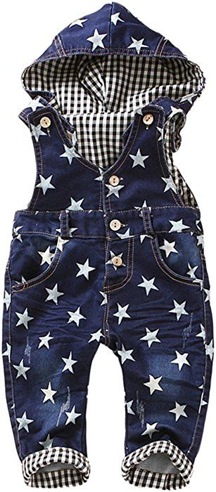 476bf3f014b55 Kidscool Baby Boys girls White Star Print Cardigan Denim Overalls with Hat   Amazon.ca  Clothing   Accessories