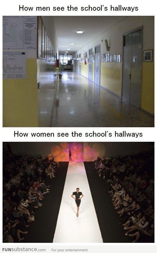 How men and women see the school's hallway