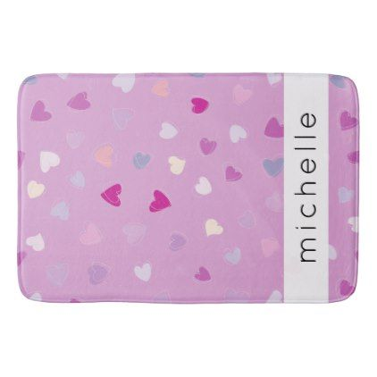 Your Name - Love Romance Hearts - Purple Pink Bath Mat - romantic gifts ideas love beautiful