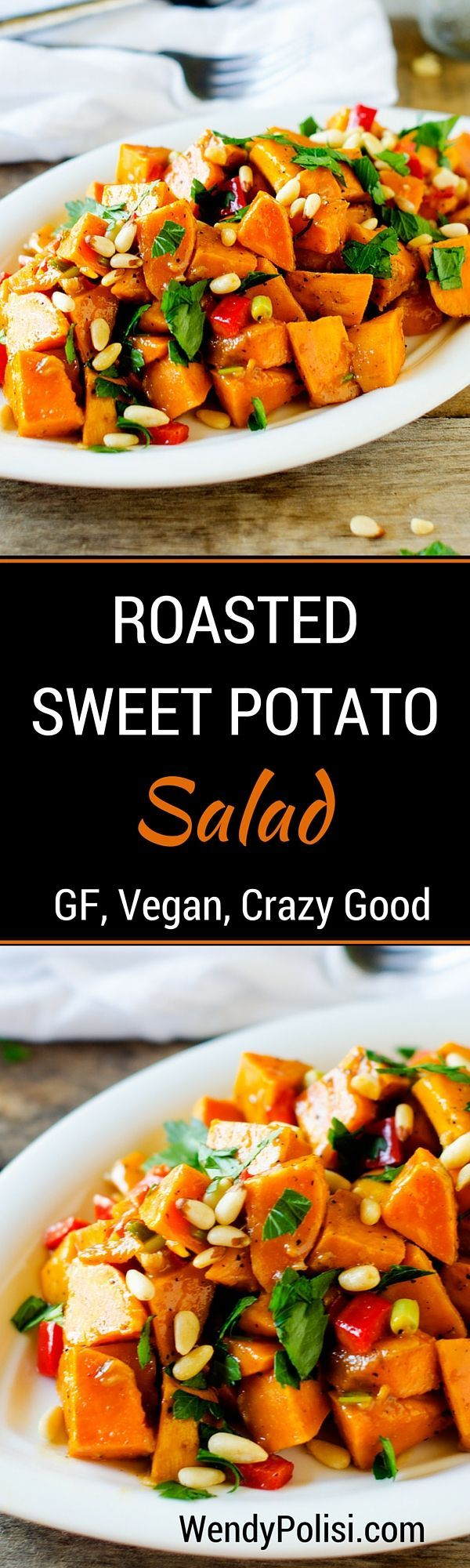 Roasted Sweet Potato Salad - This sweet potato salad is so easy to make and crazy delicious!  The type of dish to keep in the fridge to help keep your clean eating on track!