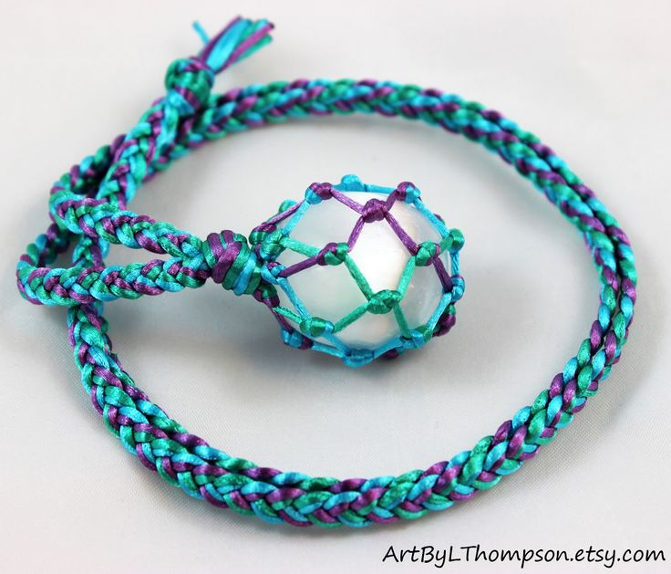 Original art by L. Thompson 3 Color Satin Cord Wrapped Selenite Crystal Ball Tumble Healing Necklace - 6 Pointed Star