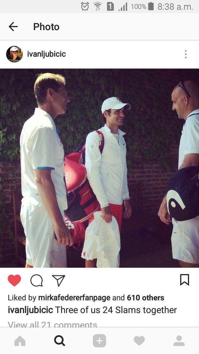 "Ish #RF20🏆 on Twitter: ""#tb 2014 Wimbledon #Federer #Edberg #ljubicic 🤗… """