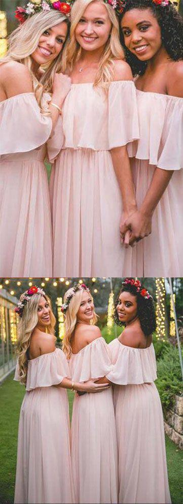 Elegant Off-the-shoulder Pastel Pink Ruffles Long Chiffon A-Line Bridesmaid Dresses UK,#chiffon,#offtheshoulder,#bridesmaidsdressesUK