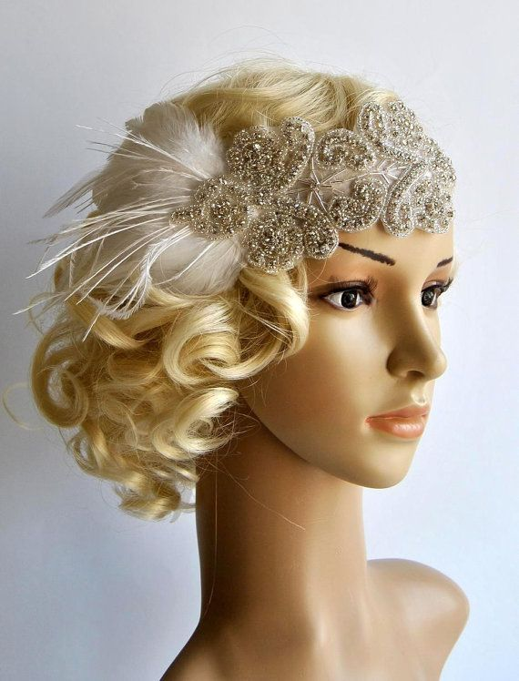 Rhinestone flapper Gatsby Headband Wedding by BlueSkyHorizons, $42.00