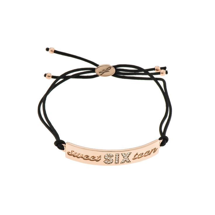 2016 Rose gold plated sterling silver bracelet with cubic zirgonia and a cord.  Dimensions: 45 Χ 8 mm. Γούρι 2016 βραχιόλι σε ασήμι 925 επιχρυσωμένο ροζ με λευκές πέτρες και κορδόνι.  Διαστάσεις : 45 Χ 8 mm.