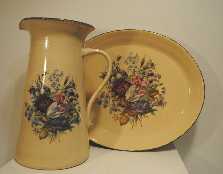 Superb Home And Garden Party Floral Stoneware Pottery Large Pitcher And Platter  Tray Good Looking
