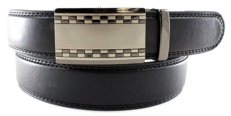 Men's Black Genuine Bonded Leather Ratchet Belt Formal Dr...
