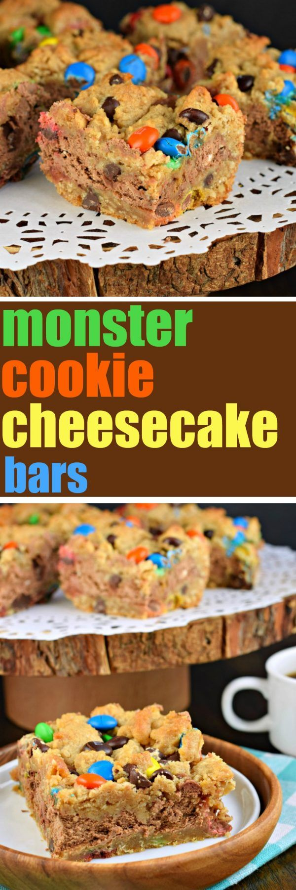Monster Cookie Cheesecake Bars - Shugary Sweets