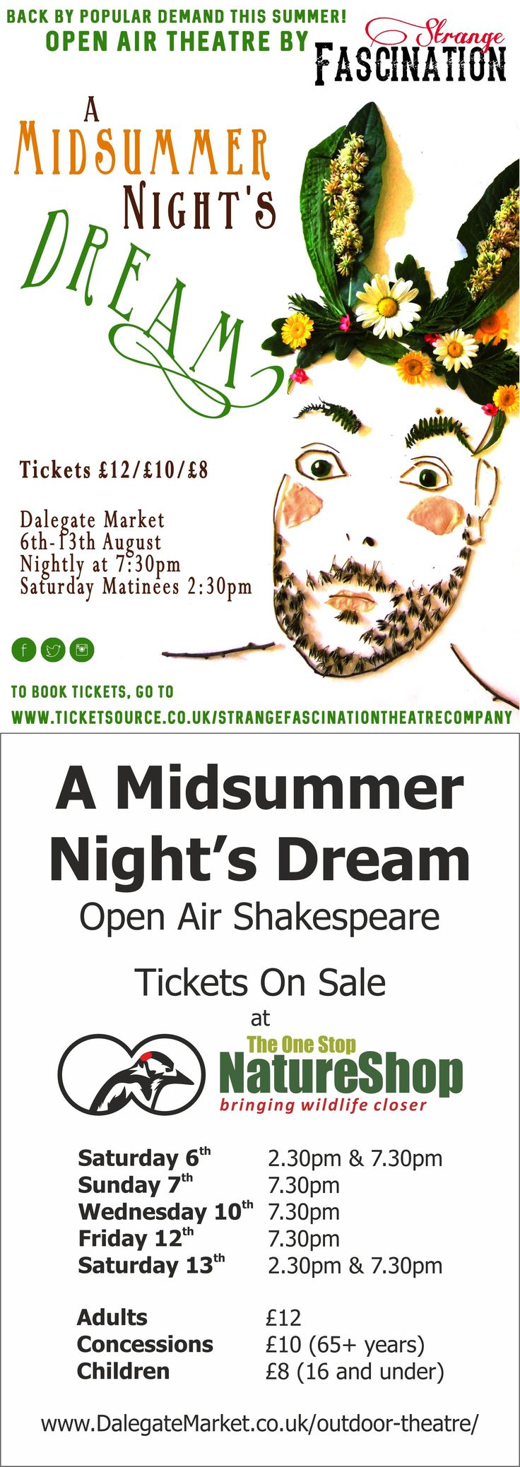 A Midsummer Night's Dream - Open Air Shakespeare from Strange Fascination Theatre Company Saturday 6th to Saturday 13th August 2016