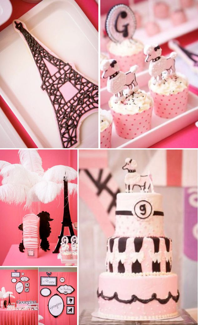 Poodle in Paris themed birthday party Pink Black French Girl Kids