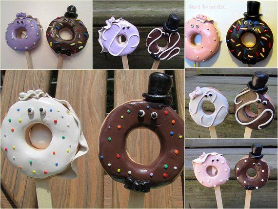 Check out this item in my Etsy shop https://www.etsy.com/listing/249497113/custom-doughnut-bride-groom-wedding-cake